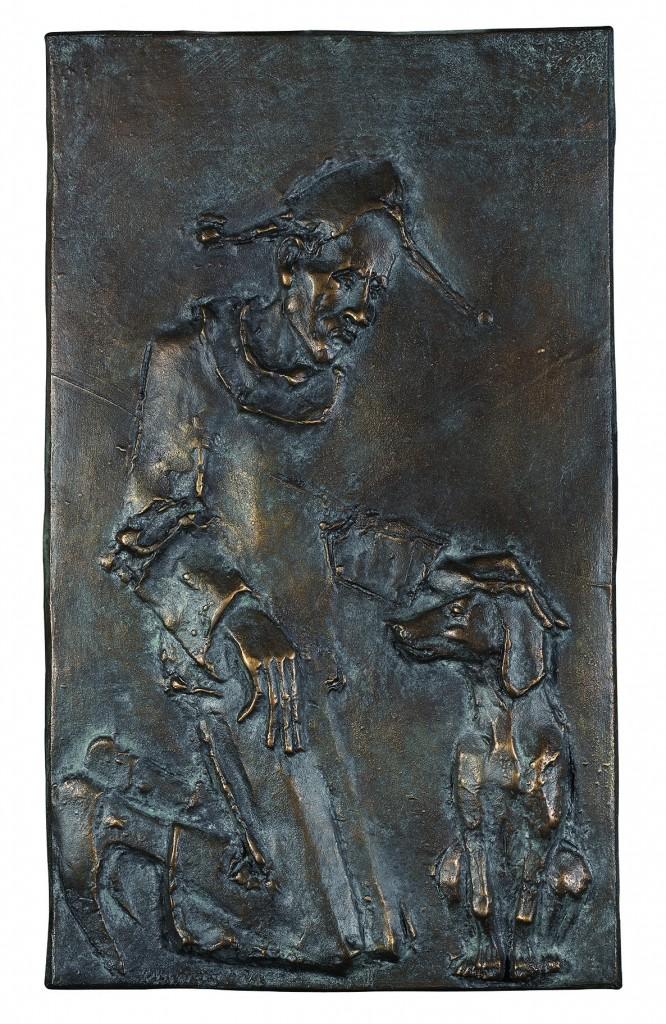 Relief - Mann mit Hund